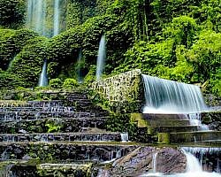 Benang Kelambu a waterfall in Senaru on the foot of Gunung Rinjani
