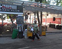 A hawker about to set up stall at Gili Trawangan